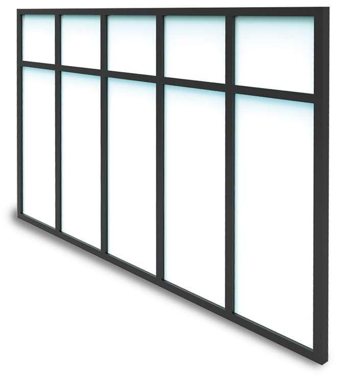 Verrière Atelier Gamme Loft ALU avec traverse de 1 à 8 vitrages sur mesure