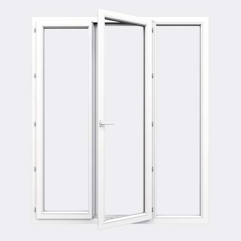 Porte Fenêtre PVC gamme Confort 2 vantaux à la française 1 fixe ouvert