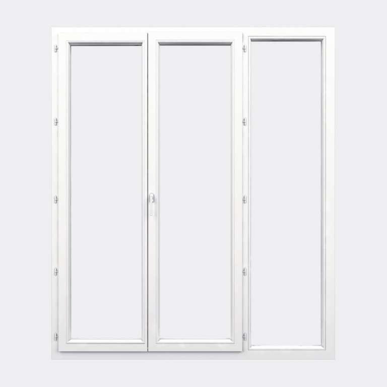 Porte Fenêtre PVC gamme Confort 2 vantaux à la française 1 fixe fermé