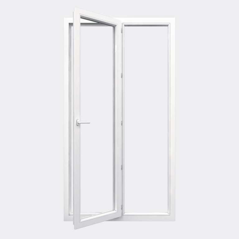 Porte Fenêtre PVC gamme Confort 1 vantail à la française 1 fixe ouvert