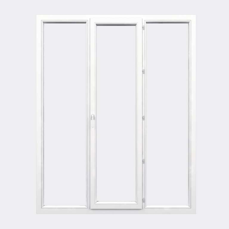 Porte Fenêtre PVC gamme Confort 1 vantail à la française 2 fixes fermé