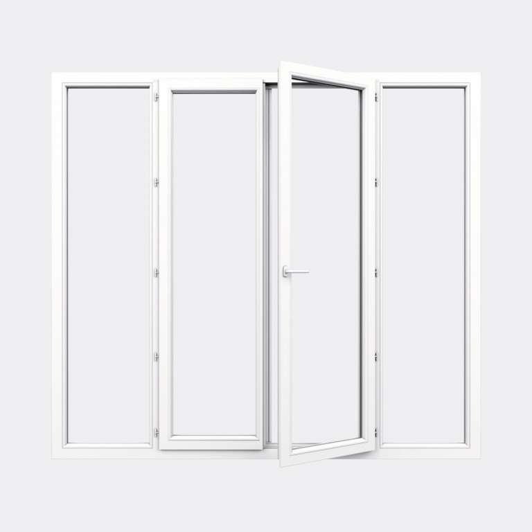 Porte Fenêtre PVC gamme Confort 2 vantaux à la française 2 fixes ouvert