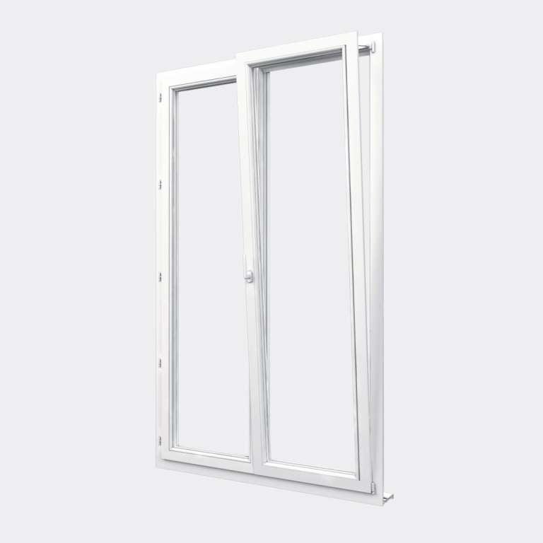 Porte Fenêtre PVC gamme Confort 2 vantaux dont 1 oscillo-battant ouvert