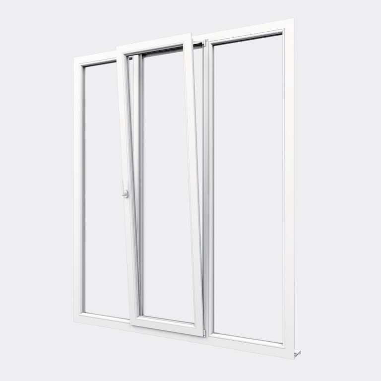 Porte Fenêtre PVC gamme Confort 1 vantail oscillo-battant 2 fixes ouvert