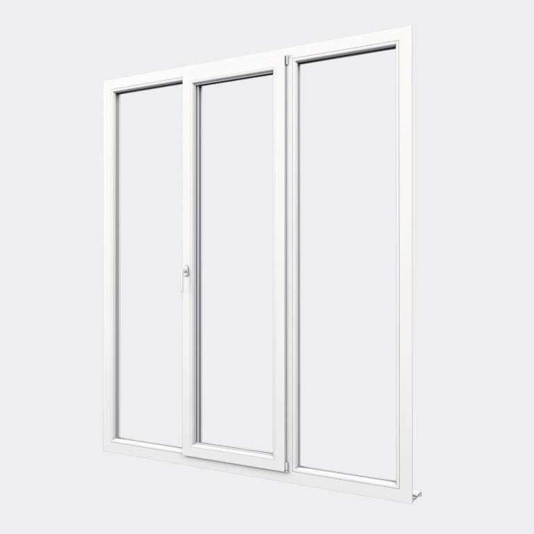 Porte Fenêtre PVC gamme Confort 1 vantail oscillo-battant 2 fixes fermé