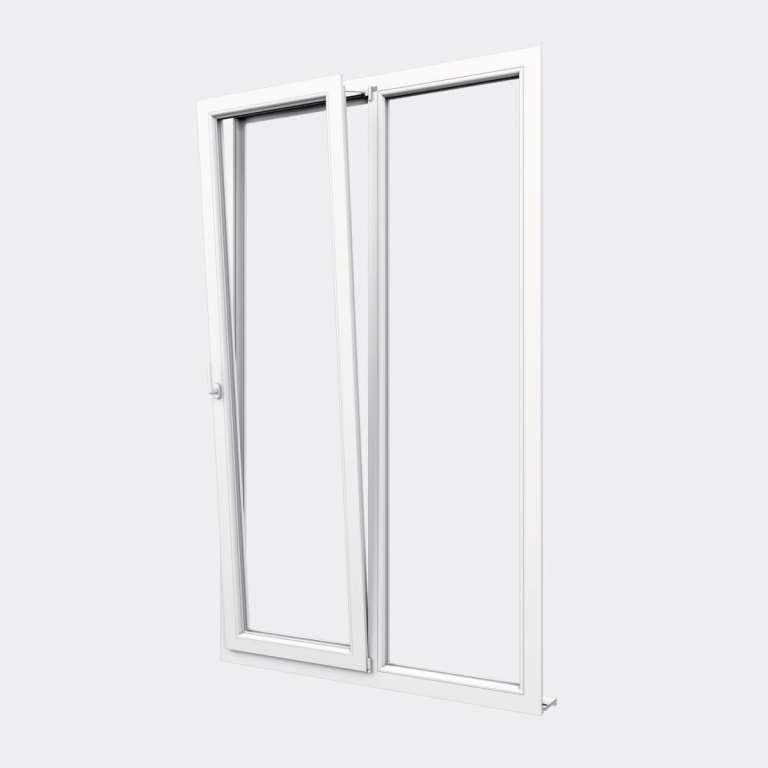 Porte Fenêtre PVC gamme Confort 1 vantail oscillo-battant 1 fixe ouvert