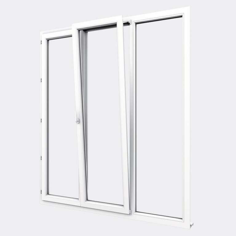 Porte Fenêtre PVC gamme Confort 2 vantaux dont 1 oscillo-battant 1 fixe ouvert