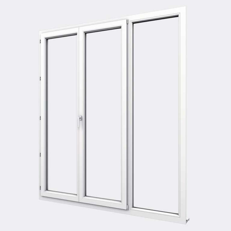 Porte Fenêtre PVC gamme Confort 2 vantaux dont 1 oscillo-battant 1 fixe fermé