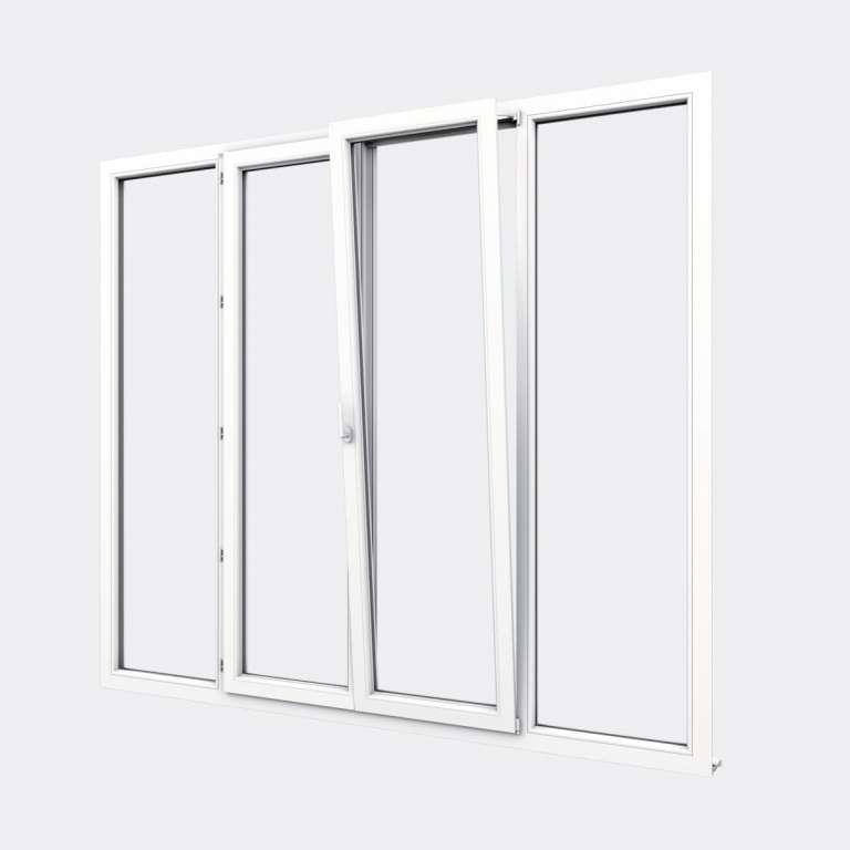 Porte Fenêtre PVC gamme Confort 2 vantaux dont 1 oscillo-battant 2 fixes ouvert