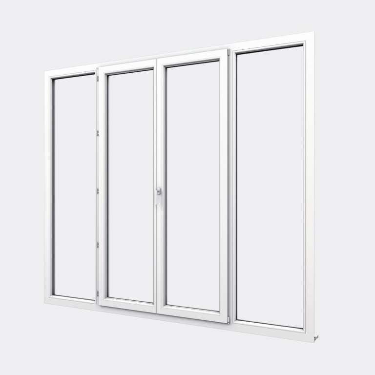 Porte Fenêtre PVC gamme Confort 2 vantaux dont 1 oscillo-battant 2 fixes fermé