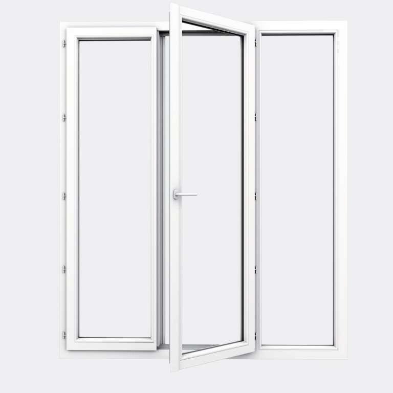 Porte Fenêtre PVC gamme Design 2 vantaux à la française 1 fixe ouvert