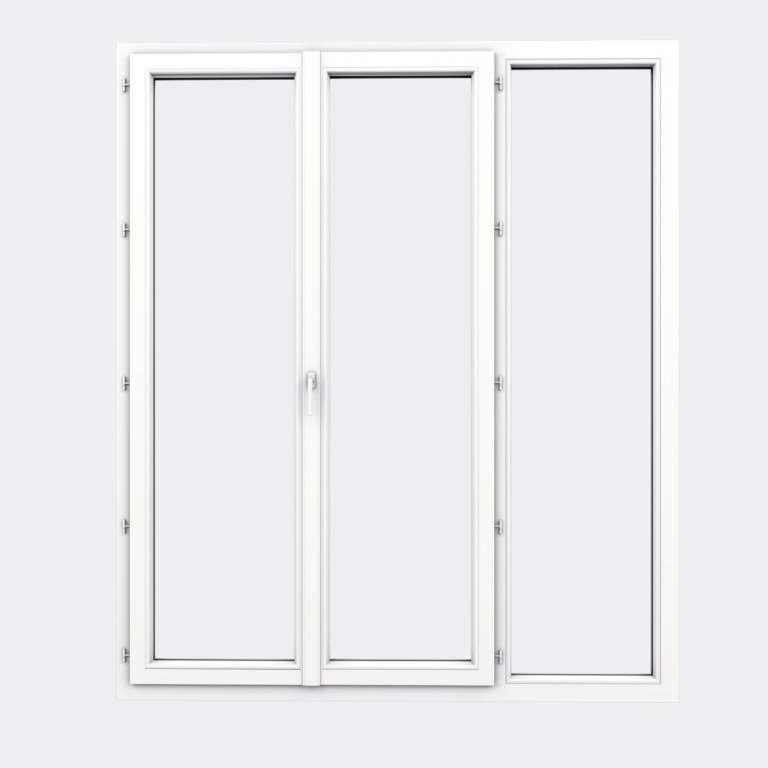 Porte Fenêtre PVC gamme Design 2 vantaux à la française 1 fixe fermé