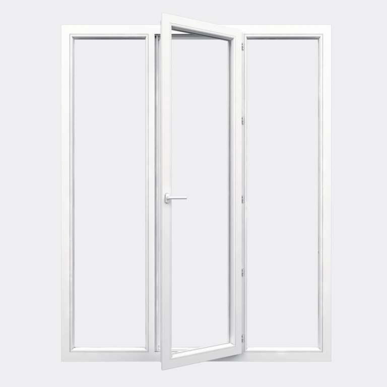 Porte Fenêtre PVC gamme Design 1 vantail à la française 2 fixes ouvert