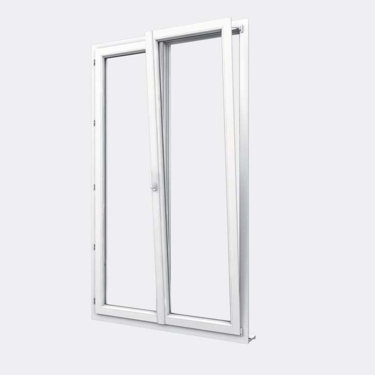 Porte Fenêtre PVC gamme Design 2 vantaux dont 1 oscillo-battant ouvert