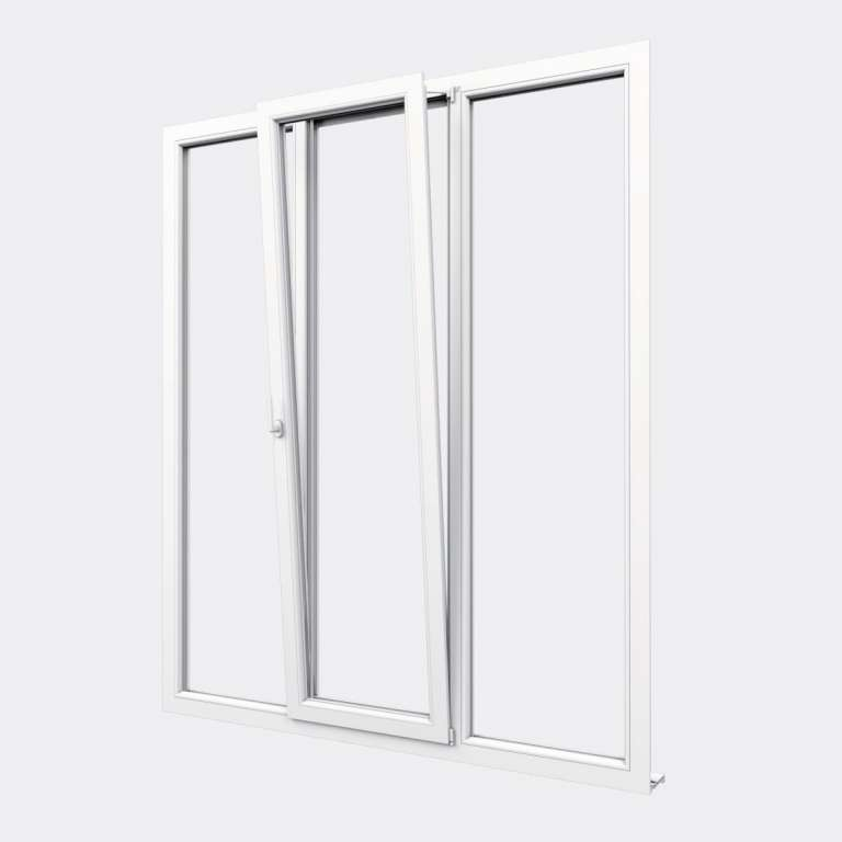 Porte Fenêtre PVC gamme Design 1 vantail oscillo-battant 2 fixes ouvert