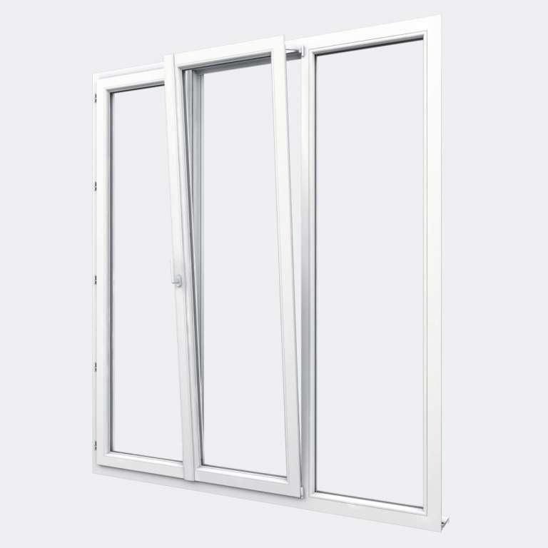 Porte Fenêtre PVC gamme Design 2 vantaux dont 1 oscillo-battant 1 fixe ouvert