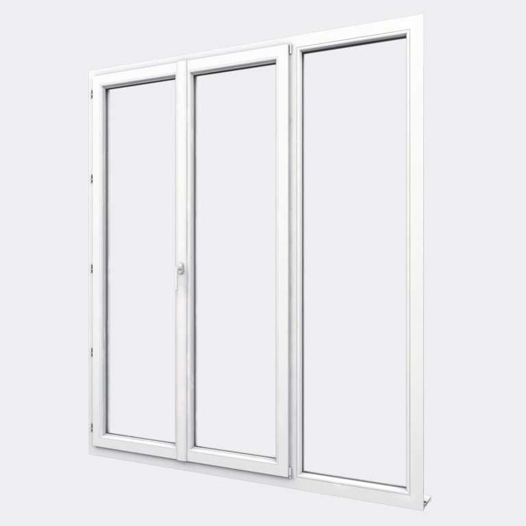 Porte Fenêtre PVC gamme Design 2 vantaux dont 1 oscillo-battant 1 fixe fermé