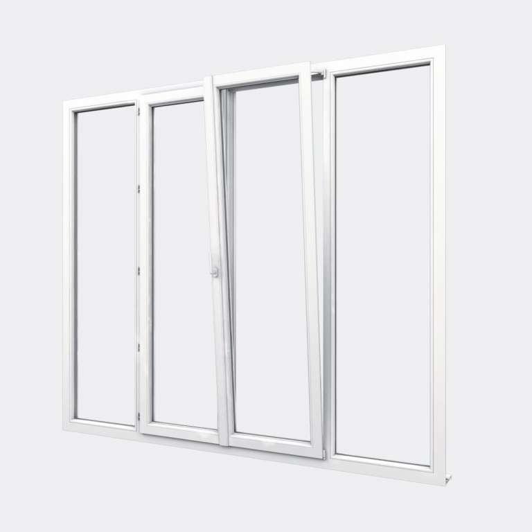 Porte Fenêtre PVC gamme Design 2 vantaux dont 1 oscillo-battant 2 fixes ouvert