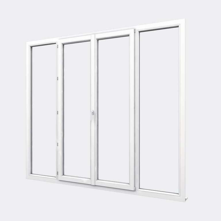 Porte Fenêtre PVC gamme Design 2 vantaux dont 1 oscillo-battant 2 fixes fermé