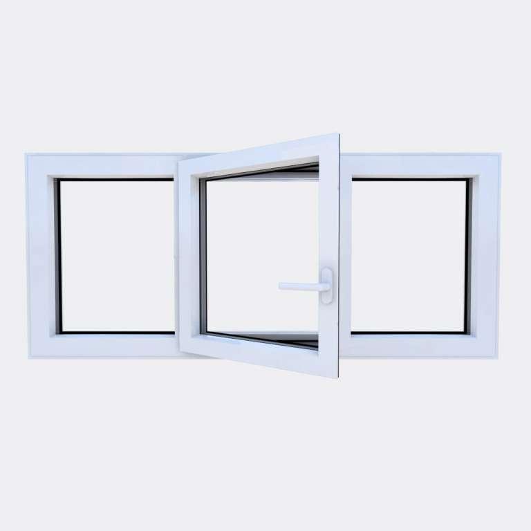 Fenêtre ALU gamme Titans 1 vantail à la française 2 fixes ouvert