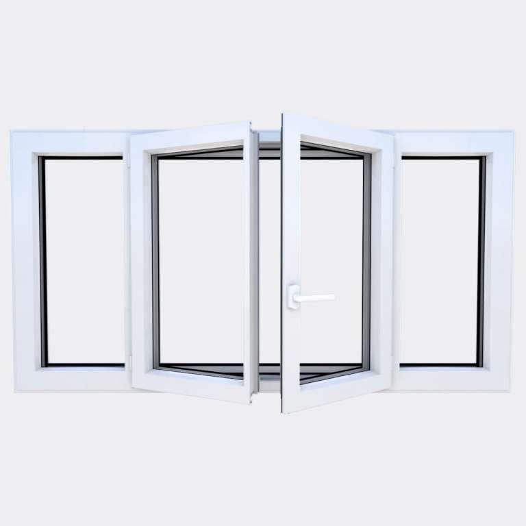 Fenêtre ALU gamme Titans 2 vantaux à la française 2 fixes ouvert