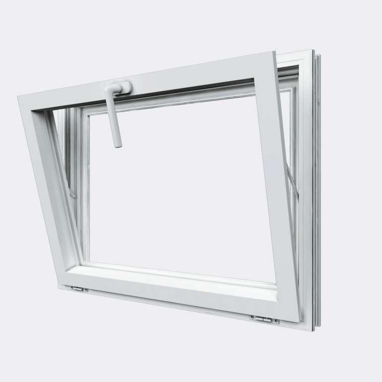 Fenêtre ALU gamme Titans 1 vantail soufflet abattant ouvert