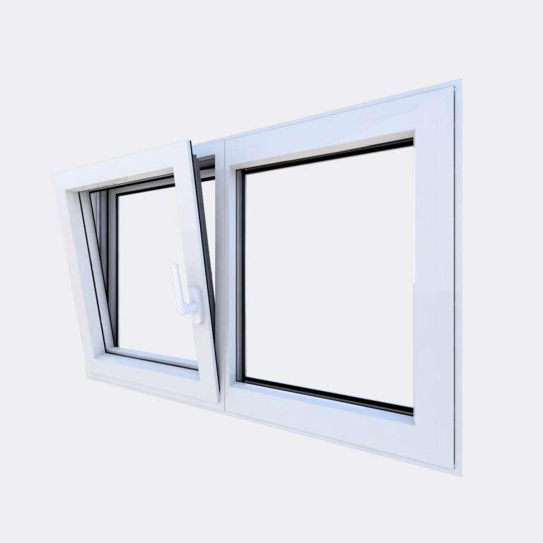 Fenêtre ALU gamme Titans 1 vantail oscillo-battant 1 fixe ouvert