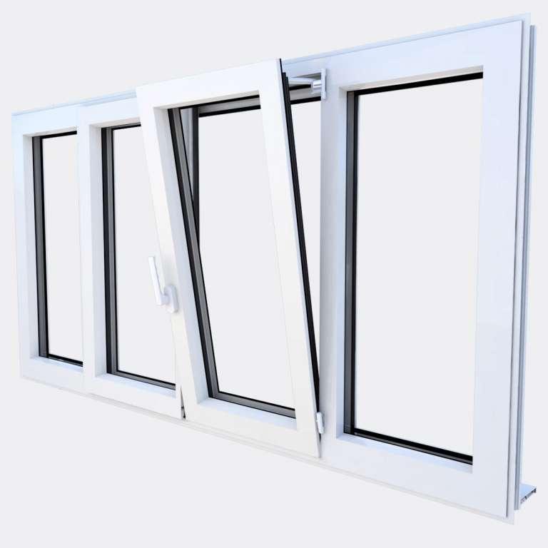 Fenêtre ALU gamme Titans 2 vantaux dont 1 oscillo-battant 2 fixes ouvert