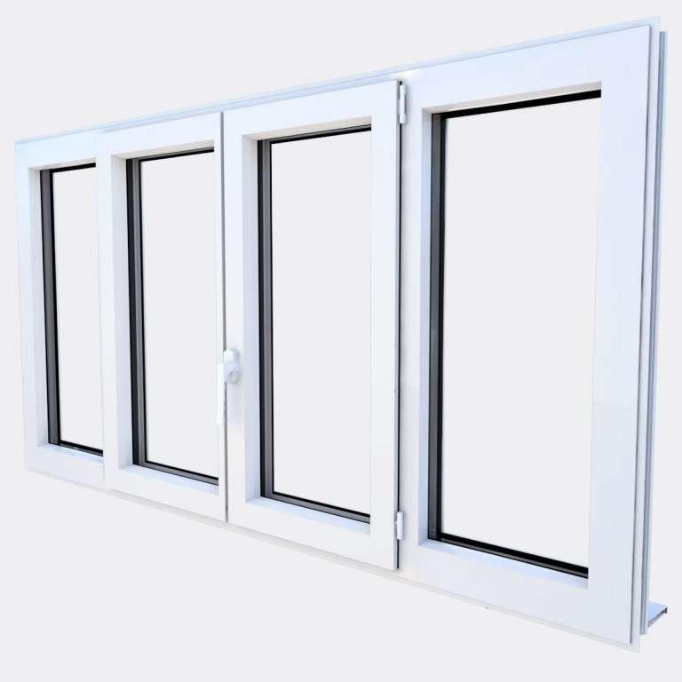 Fenêtre ALU gamme Titans 2 vantaux dont 1 oscillo-battant 2 fixes fermé