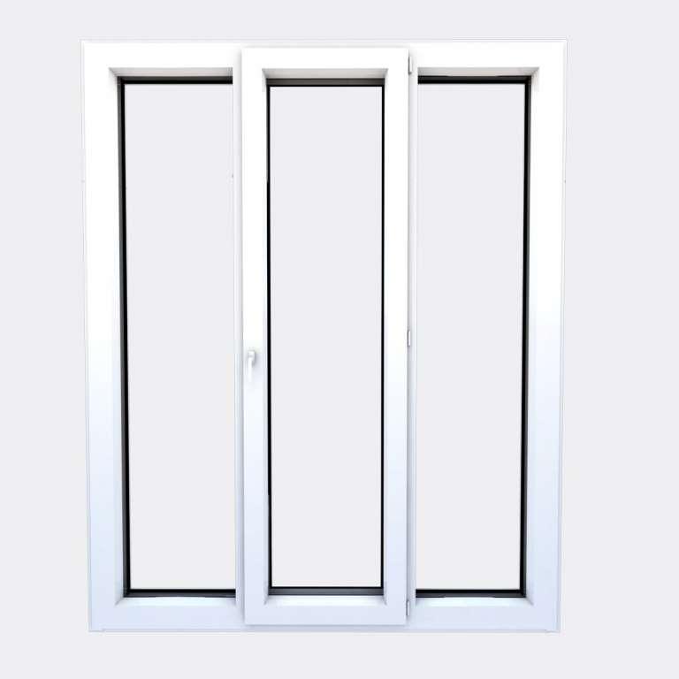 Porte Fenêtre ALU gamme Titans 1 vantail à la française 2 fixes fermé