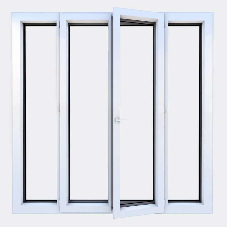 Porte Fenêtre ALU gamme Titans 2 vantaux à la française 2 fixes ouvert