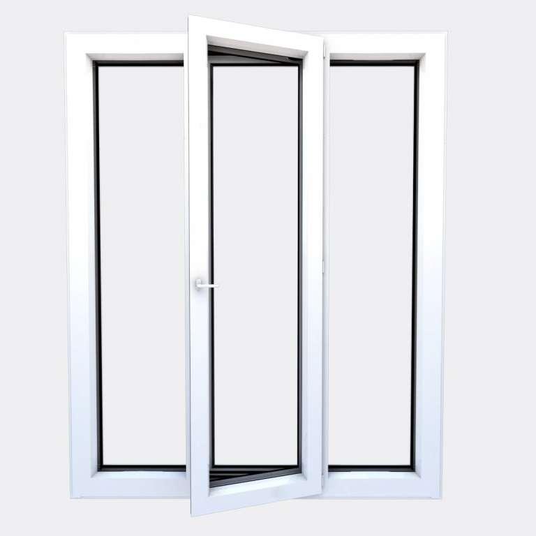 Porte Fenêtre ALU gamme Titans+ 1 vantail à la française 2 fixes ouvert