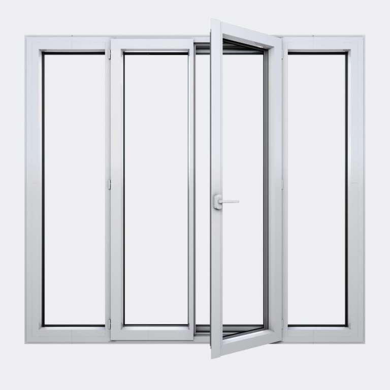 Porte Fenêtre ALU gamme Titans+ 2 vantaux à la française 2 fixes ouvert