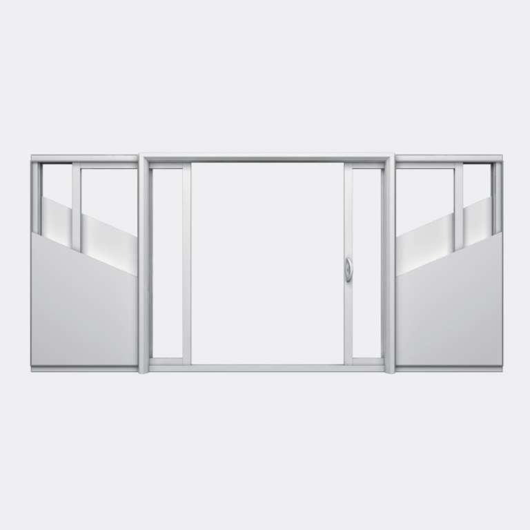Baie coulissante galandage PVC gamme Slide Galandage 2 vantaux 1 rail ouvert