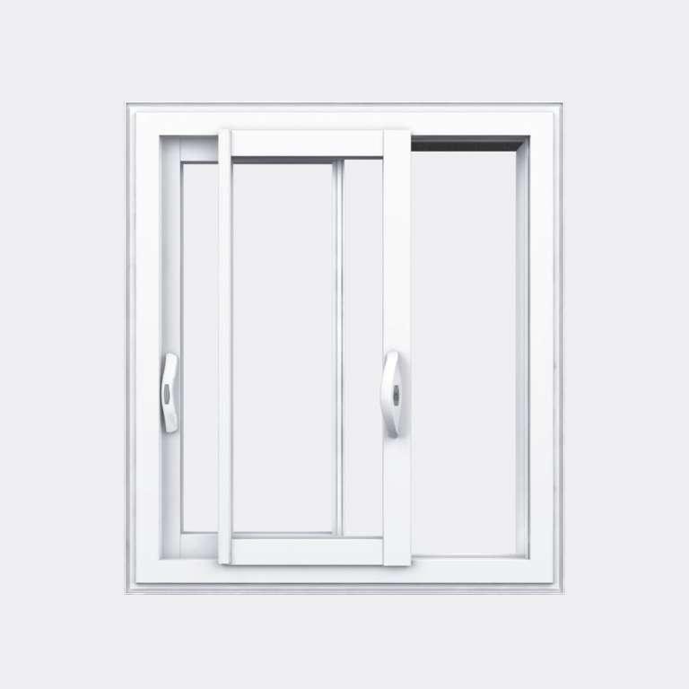 Fenêtre coulissante PVC gamme Slide 2 vantaux 2 rails ouvert