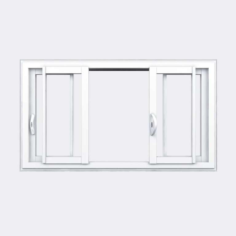 Fenêtre coulissante PVC gamme Slide 4 vantaux 2 rails ouvert