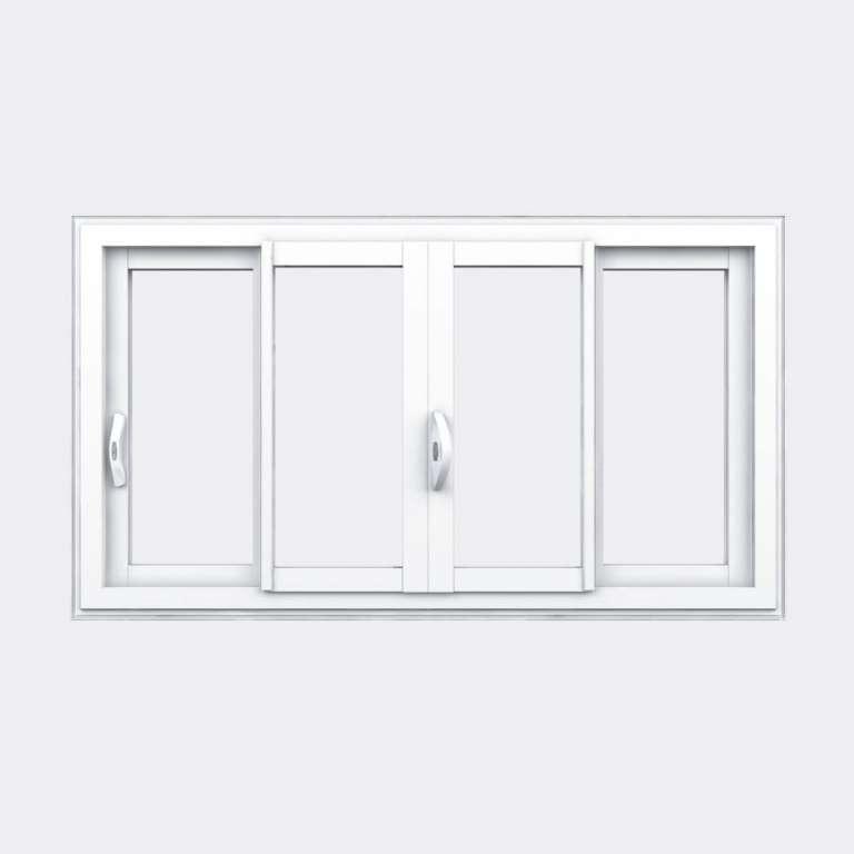 Fenêtre coulissante PVC gamme Slide 4 vantaux 2 rails fermé