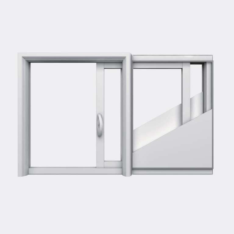 Fenêtre coulissante galandage PVC gamme Slide Galandage 1 vantail 1 rail ouvert