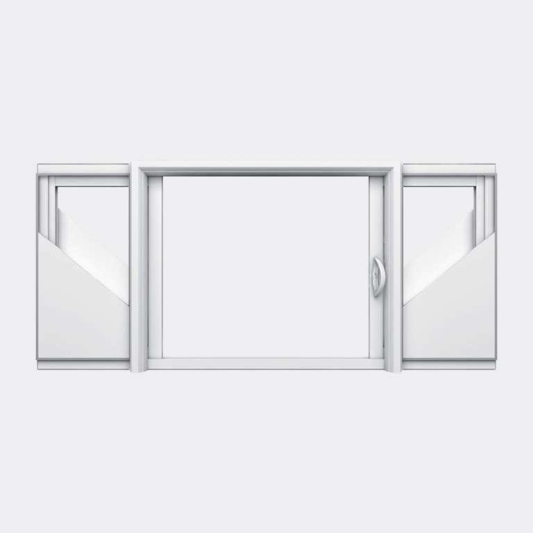 Fenêtre coulissante galandage PVC gamme Slide Galandage 2 vantaux 1 rail ouvert