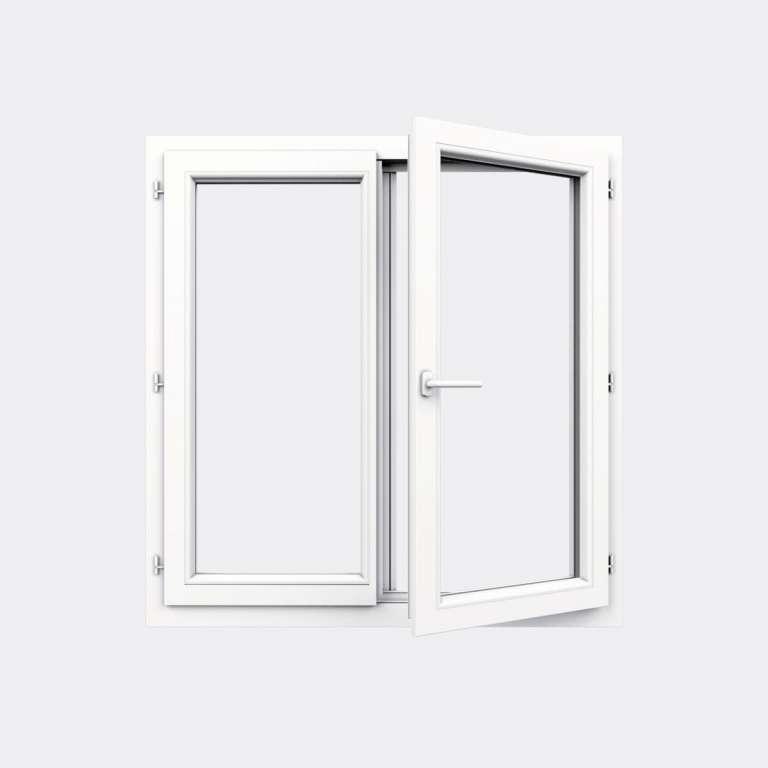 Fenêtre PVC gamme Confort 2 vantaux ouverture à la française ouvert