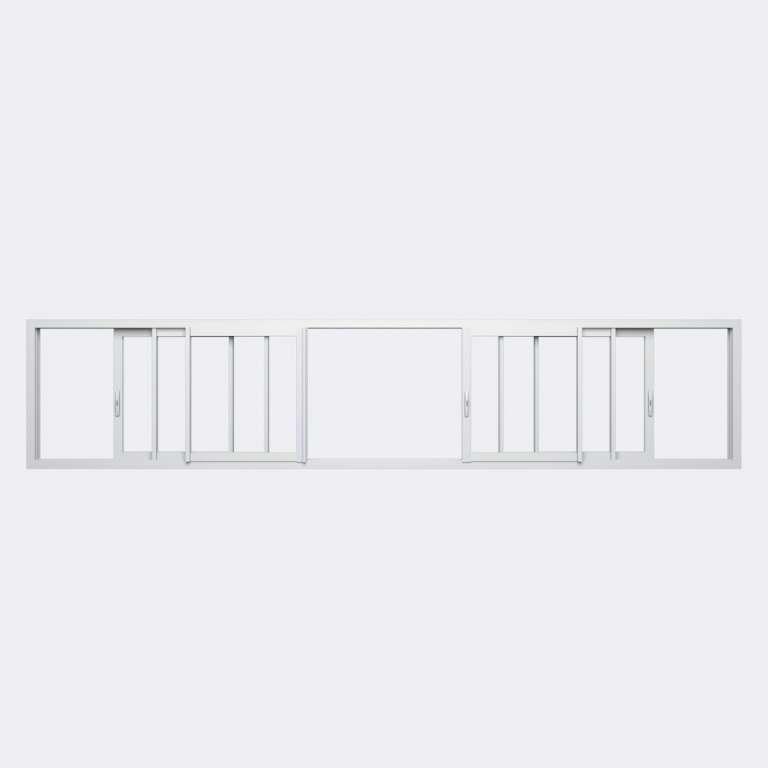 Fenêtre coulissante ALU gamme Titans 6 vantaux 3 rails ouvert