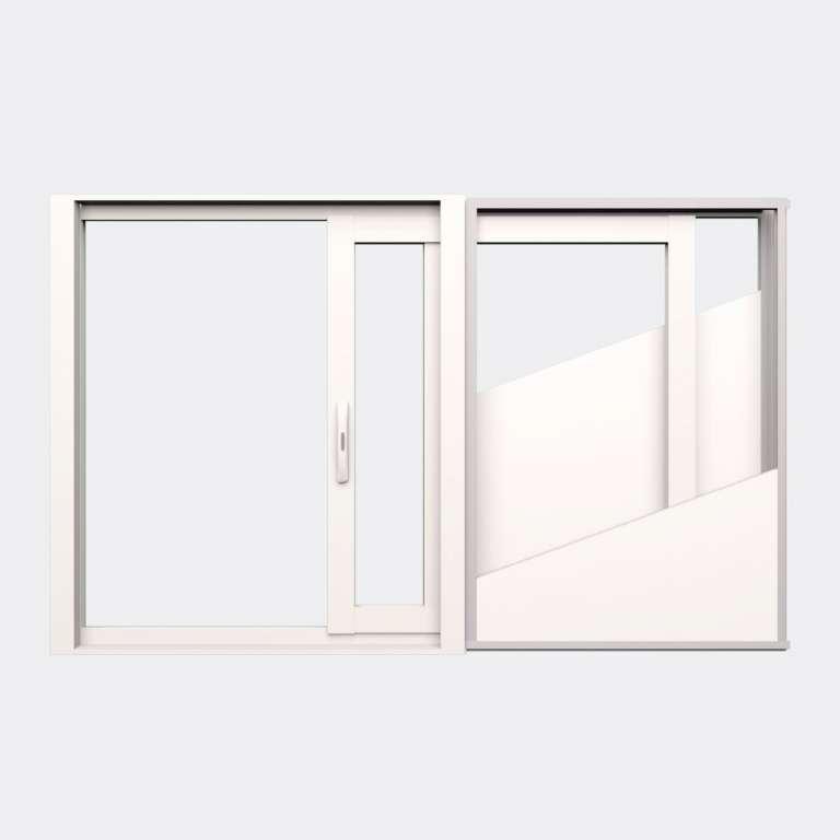 Fenêtre coulissante galandage ALU gamme Titans Galandage 1 vantail 1 rail ouvert