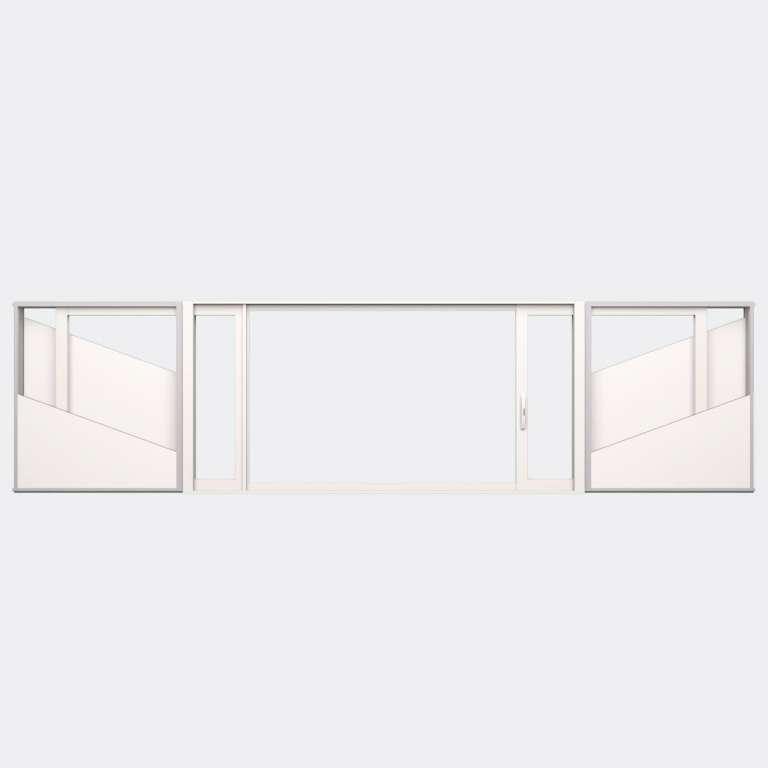Fenêtre coulissante galandage ALU gamme Titans Galandage 2 vantaux 1 rail ouvert
