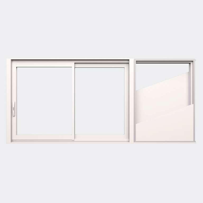 Fenêtre coulissante galandage ALU gamme Titans Galandage 2 vantaux 2 rails fermé