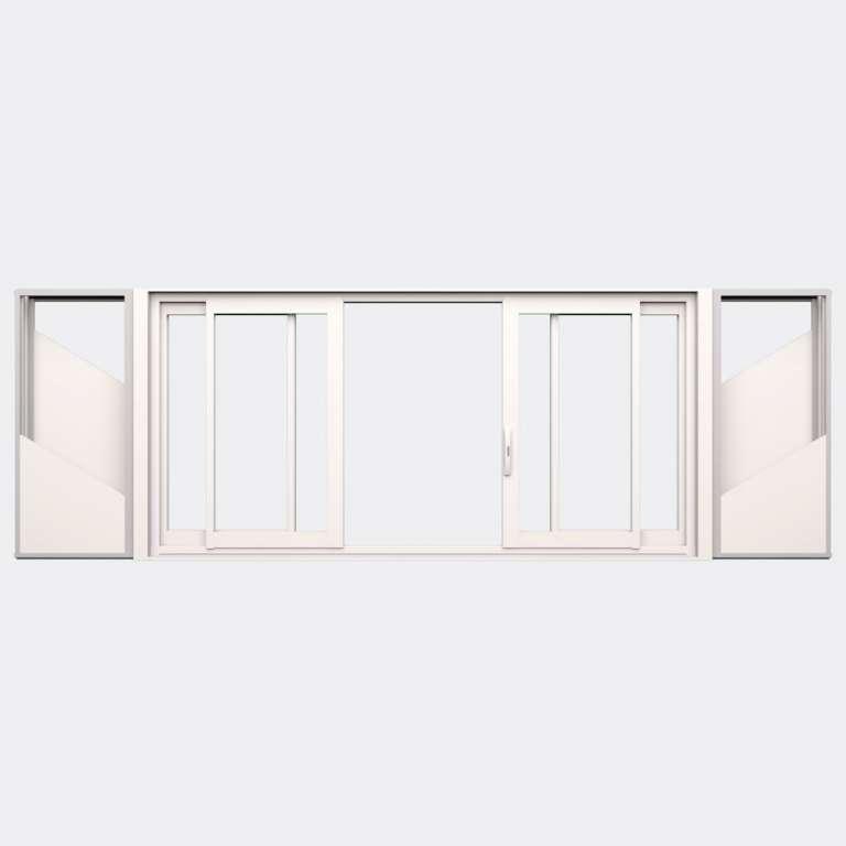 Fenêtre coulissante galandage ALU gamme Titans Galandage 4 vantaux 2 rails ouvert