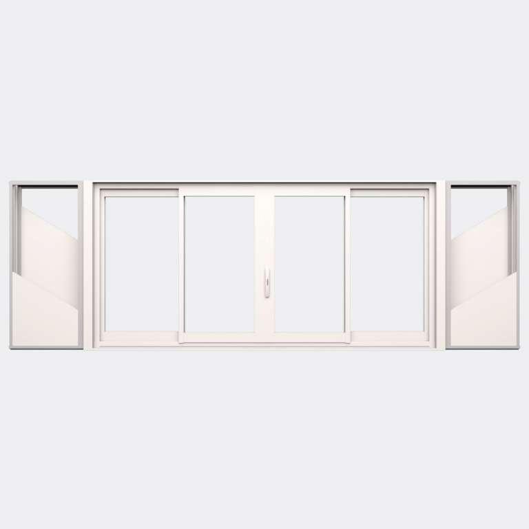 Fenêtre coulissante galandage ALU gamme Titans Galandage 4 vantaux 2 rails fermé