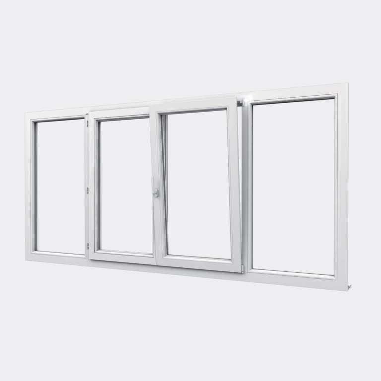 Fenêtre PVC gamme Design 2 vantaux dont 1 oscillo-battant 2 fixes  ouvert