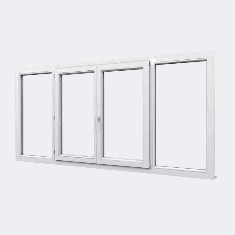 Fenêtre PVC gamme Design 2 vantaux dont 1 oscillo-battant 2 fixes  fermé