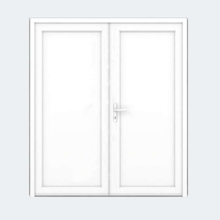 Porte entrée PVC gamme FlexyP remplissage panneau plein 2 vantaux