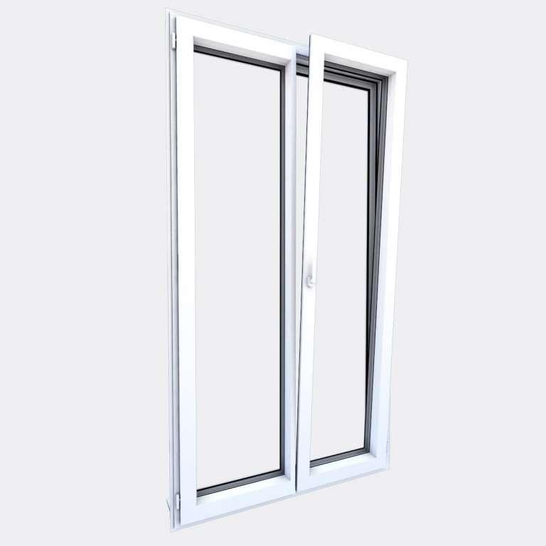 Porte Fenêtre ALU gamme Titans 2 vantaux dont 1 oscillo-battant ouvert
